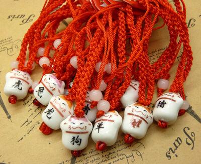 12生肖吉祥语陶瓷招财猫手链 幸运红绳手链