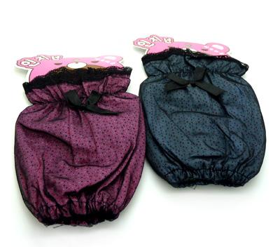 可爱蕾丝花边短款袖套冬 女蝴蝶结防污套袖.