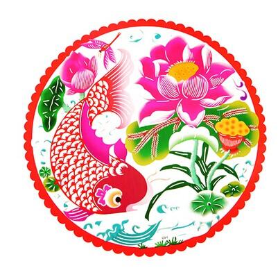 新年剪纸 喜庆七彩雕花无胶静电贴 玻璃窗贴--鲤鱼跳龙