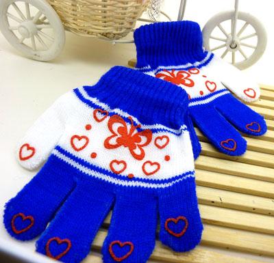 韩版五指手工编织秋冬季可爱宝宝保暖针织手套(36号)
