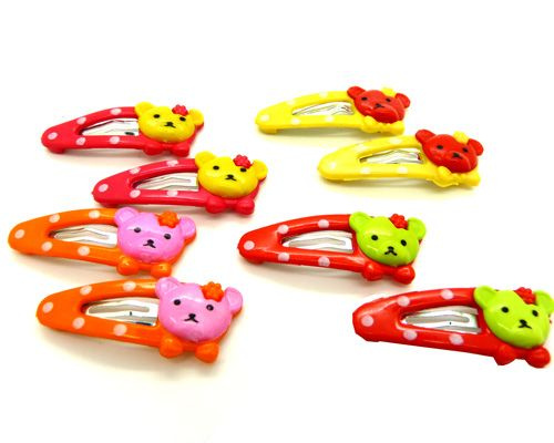 特价新款韩版头饰 可爱儿童配饰 卡通小动物糖果发夹发卡边夹两对四夹