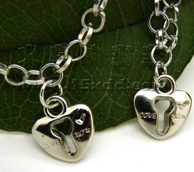 男锁女钥匙 锁住爱情手链 韩版时尚爱心桃心情侣手链 一对情侣十字架