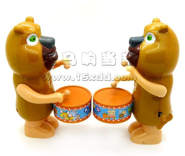 儿童上链玩具 动物卡通熊大打鼓敲鼓 大号上劲打鼓愤怒的小鸟 -熊打鼓
