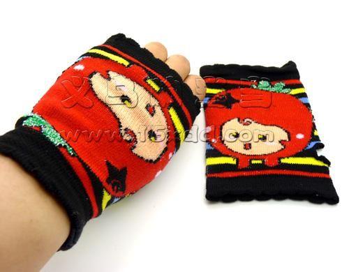 韩国时尚淑女卡通小动物图案针织提花保暖半指手套