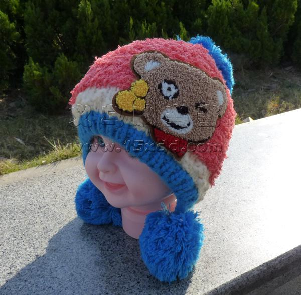 小熊针织帽可爱卡通帽子小孩