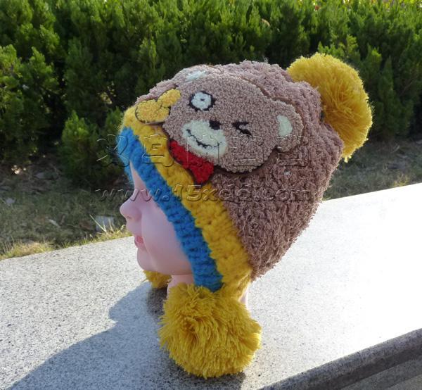 儿童毛线帽 毛球 毛线钩织装饰 小熊针织帽可爱卡通帽子小孩