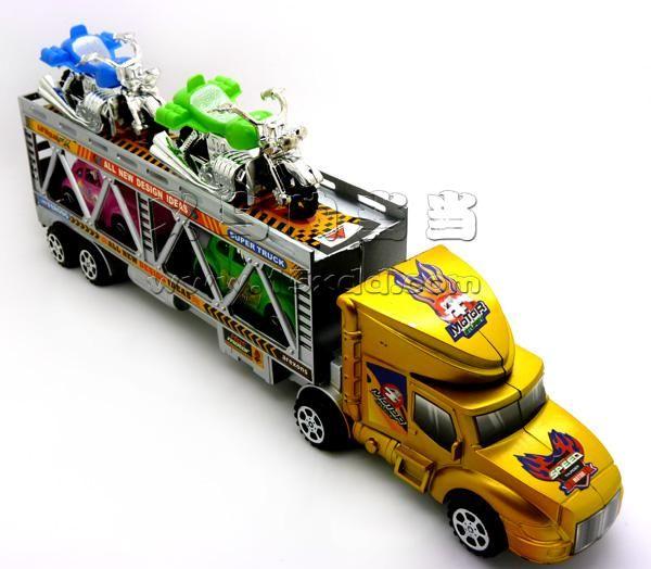 挂车车模 汽车模型 平板拖车玩具