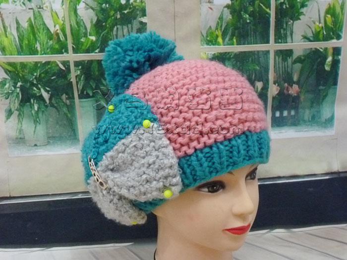 韩国秋冬季新款可爱蝴蝶结毛线帽子 手工编织毛线帽女