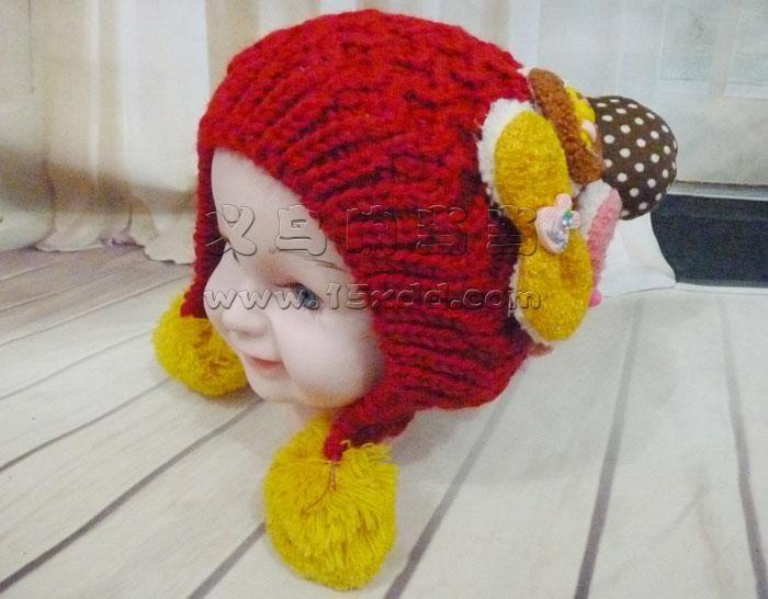 儿童帽子女秋冬新款宝宝帽子韩国婴儿毛线帽子男孩帽子 -儿童手工编织