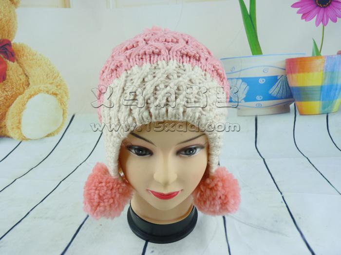 新款手工毛线帽子 女菠萝花帽针织帽