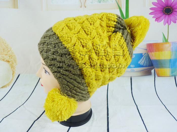 女菠萝花帽针织帽
