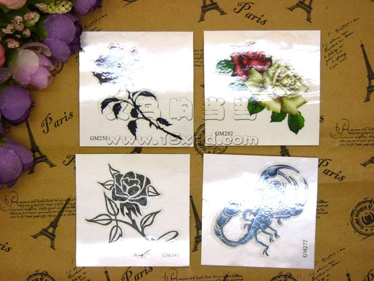 纹身贴-蝎子绕玫瑰花 纹身贴3d 花臂防水前胸后背 男女 刺青纹身