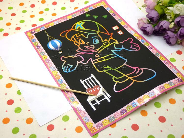 韩国文具 神奇炫彩刮画纸线圈刮画本 儿童绘画本刮刮卡 刮刮画 刮刮画