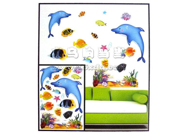 幼儿园教室主题墙装饰品 diy立体层层贴 3d海底鱼世界海洋鱼组合