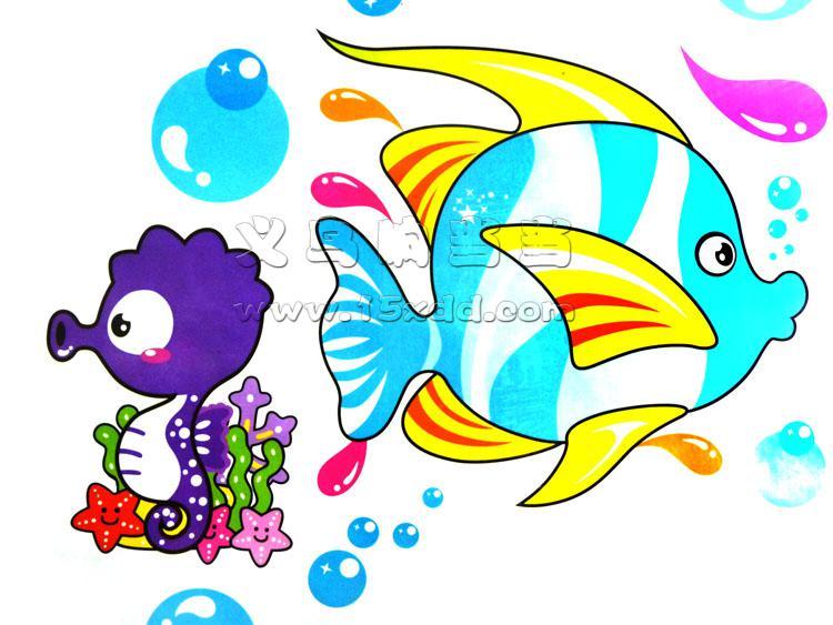 60cm 45cm卡通亲嘴鱼墙贴 环保幼儿园装饰儿童卧室浴室贴画可移除墙贴