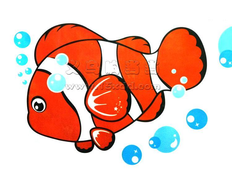 60cm 45cm卡通亲嘴鱼墙贴 环保幼儿园装饰儿童卧室浴室贴画可移除墙