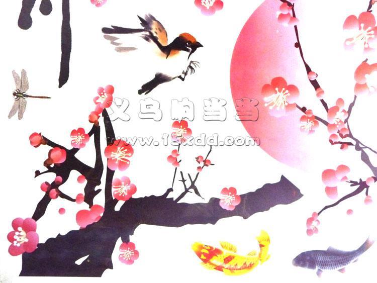 中国风梅花荷花墙纸贴画