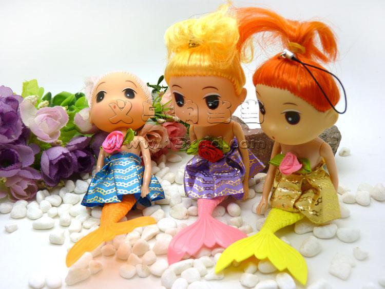 可爱芭比娃娃挂件/毛绒挂件 家家芭芘娃娃真眼美人鱼芭比娃娃儿童模型
