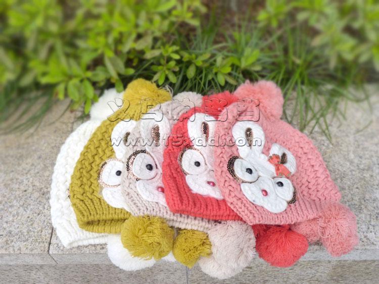 2015新款珍珠花朵森女秋冬天甜美兔耳朵针织毛线帽子