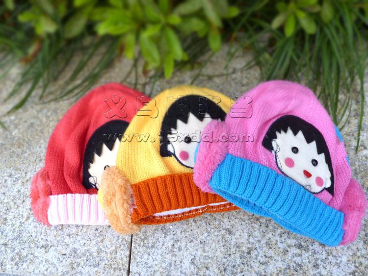宝宝儿童女童樱桃小丸子编织帽遮阳帽太阳帽草帽 -樱桃小丸子帽(加厚)
